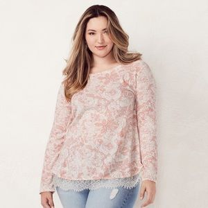 LC Lauren Conrad Floral Lace Trim Sweater Sz L